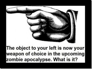 the object to your left is now your weapon of choice in the upcoming zombie apocolypse.  What is it?
