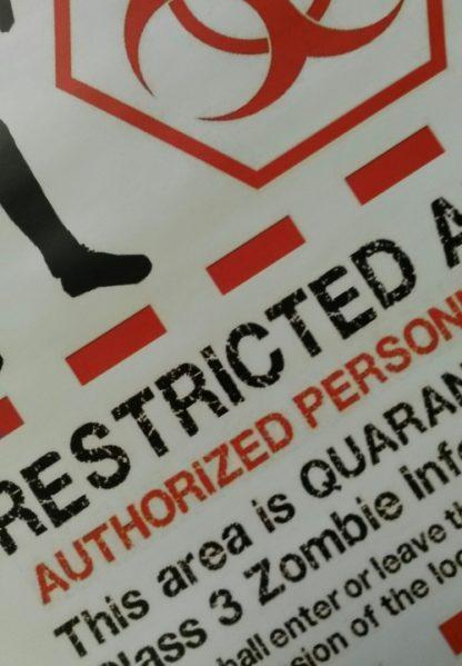 Zombie Outbreak Quarantine Poster A4