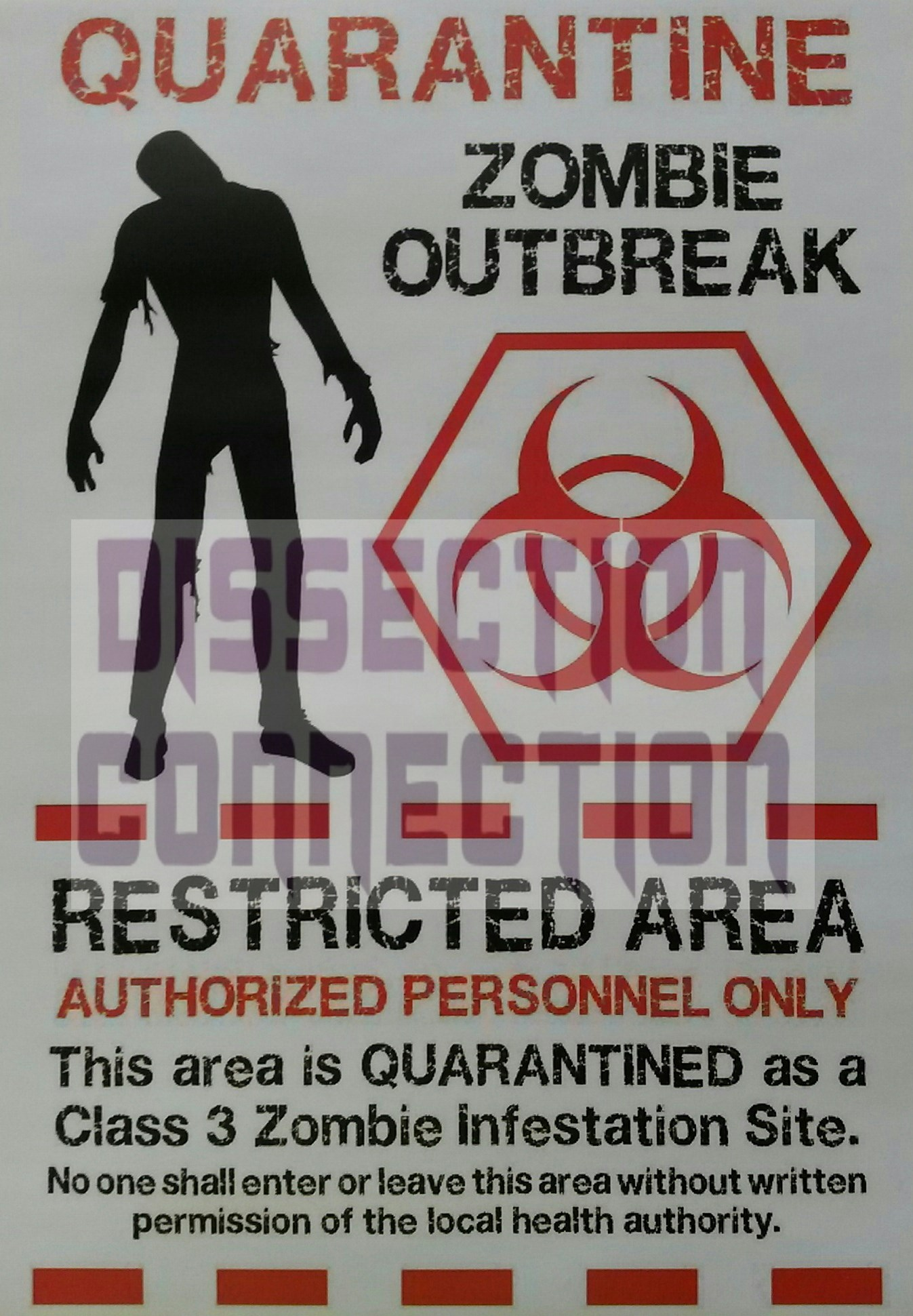 Zombie Outbreak Quarantine Poster A4