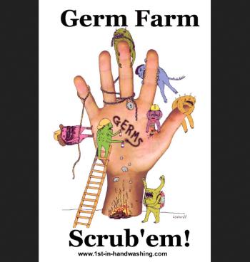 Scrub 'em! handwashing poster