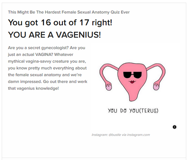 female reproductive system quiz result, Miss Vivi labelled a vagenius
